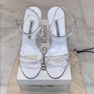 Manolo Blahnik White Heels Sz 38.5